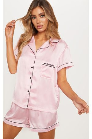PRETTYLITTLETHING Satin Pocket PJ Set