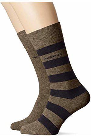 HUGO BOSS Men's BlockStripe COl C Calf Socks, (Dark 304)