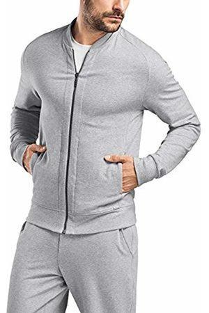 Hanro Mens Living Zip Jacket Pajama Top - Gray