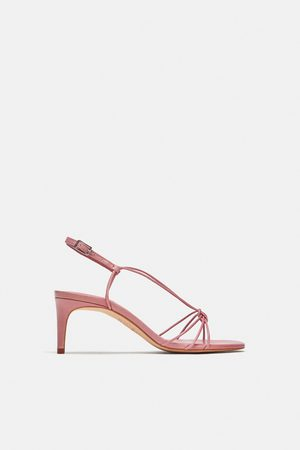 Heel High Strappy Strappy Leather Sandals Leather lFTcK1J