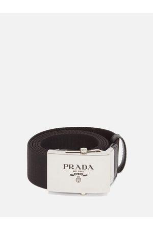 Prada Logo-engraved Leather-trimmed Canvas Belt - Mens