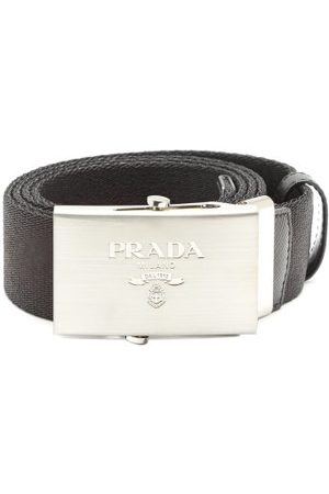 Prada Men Belts - Logo-engraved Leather-trimmed Canvas Belt - Mens