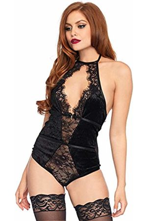 Leg Avenue Women's Halter Stretch Velvet Teddy with lace Keyhole Center Detail Babydoll Lingerie