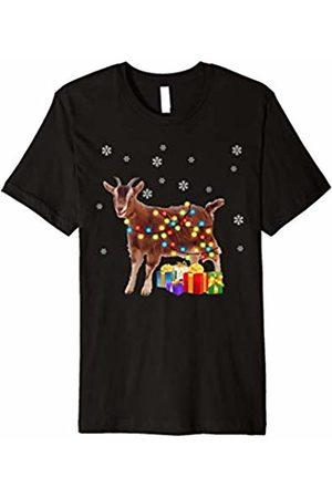 Goat Christmas Costume Tee Goat Christmas Lights T-shirt Funny Goat Pajamas