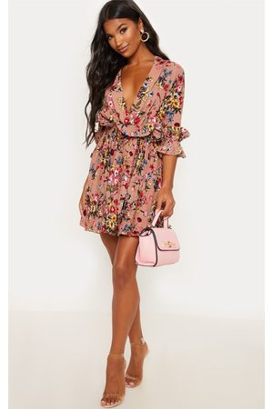PRETTYLITTLETHING Women Printed Dresses - Dark Nude Floral Frill Detail Pleated Skater Dress