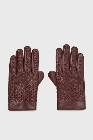 Zara LEATHER GLOVES WITH BRAIDED DETAIL
