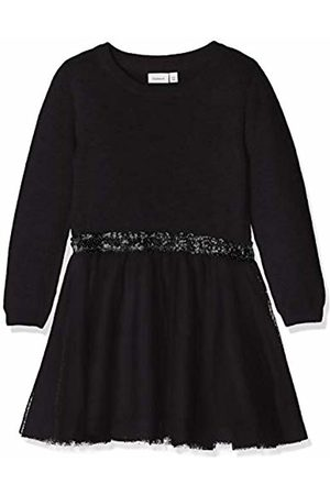 Name it Girl's Nkfralukka Ls Knit Dress Noos (Schwarz )