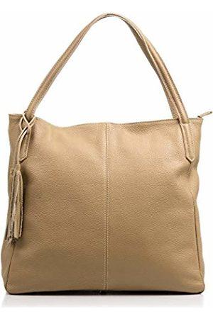 Firenze Artegiani .Women's Handbag Genuine Leather Dollaro.Suave Shopper Women's Shoulder Bag Made in Italy. Vera Pelle Italiana. 36 x 33 x 15 cm. Taupe Colour