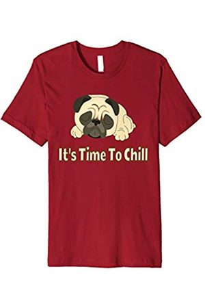 Curly Pug Tails Men Short Sleeve - It's Time To Chill Cute Napping Pug Dog T-Shirt