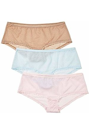 IRIS & LILLY Women's Hipsters with Full-cover Lace Mesh, Pack of 3