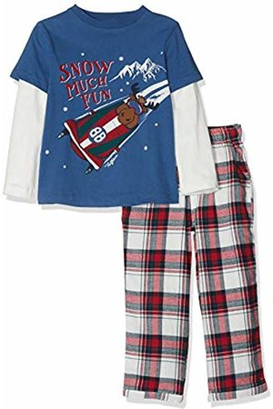 Fat Face Boy's Milo Moose Check Pyjama Sets, (Slate Blu)