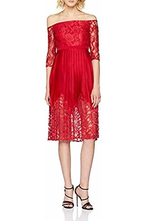 Little Mistress Women's Lace Top Midi Party Dress, (Crimson)