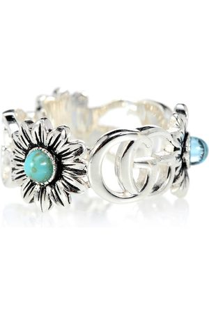 Gucci Double G flower sterling ring with topaz and mother of pearl