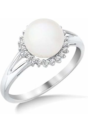 Miore 9ct Diamond Set Cluster Ring with Freshwater Pearl SA951R- Size O
