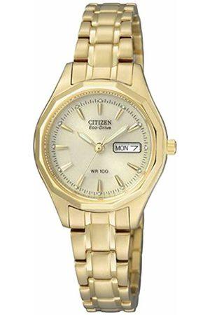 Citizen Women's Quartz Watch with Black Dial Analogue Display Quartz Yellow EW3142 56PE