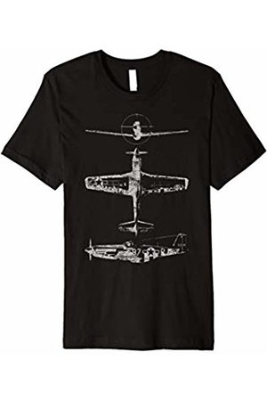 WW2 War Planes P-51 Mustang Fighter-bomber Aircraft Tshirt Retro Distressed