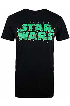 STAR WARS Men's Logo Festive Lights T-Shirt, ( Blk)
