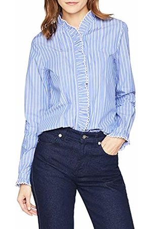 Scotch&Soda Maison Women's Clean Shirt with Ruffle and Embroidery Details Blouse