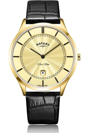 Rotary Watches Ultra Slim Stainless Steel Watch With Black Strap & Dial