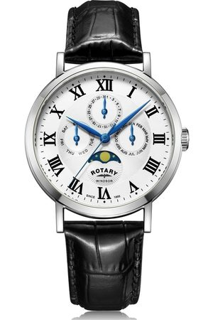 Rotary Watches White Windsor Multifunction Quartz Watch With Leather Strap