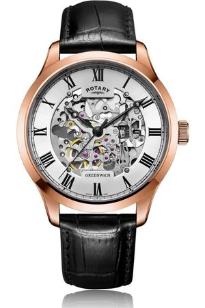 Rotary Watches Mens Rose Plated Skeleton Watch