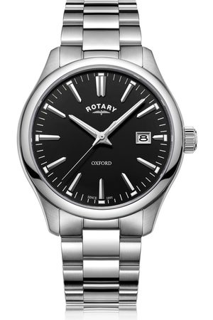 Rotary Watches Oxford Silver Stainless Steel Quartz Watch With Black Dial