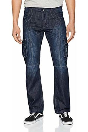 Enzo Men's KZ103 Straight Jeans, (Dark Stonewash )