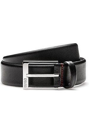 HUGO BOSS Men Belts - Embossed leather belt with polished silver-effect hardware