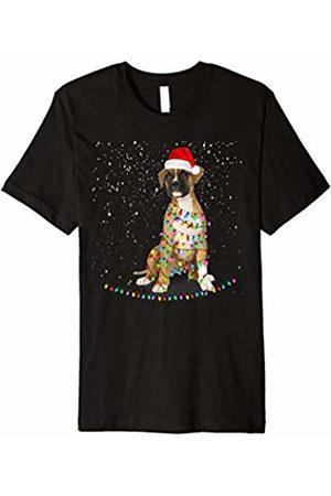 Christmas Dog Gift Funny Merry Boxer Santa Hat Tshirt