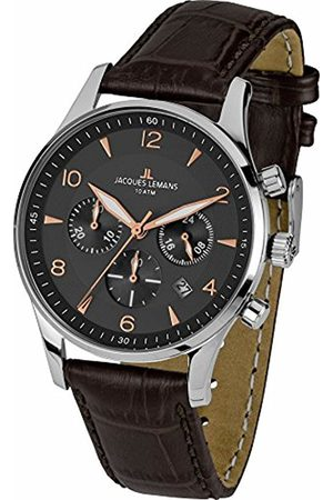 Jacques Lemans Men's Chronograph Quartz Watch with Leather Strap – 1-1654F