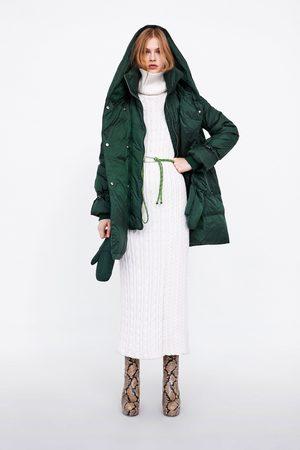 Zara DOWN PUFFER COAT WITH WRAPAROUND COLLAR