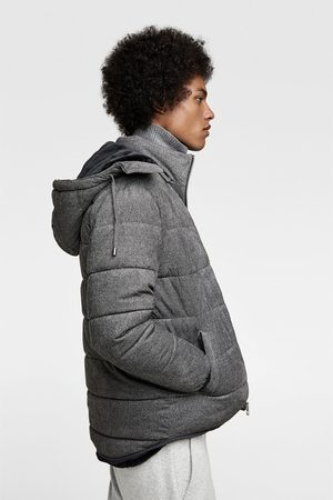 Zara TEXTURED PUFFER JACKET WITH CONTRAST LINING