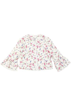 MONNALISA Girls Summer Jackets - Rose Printed Tweed Jacket