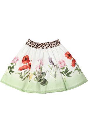 MONNALISA Flowers Print Cotton Muslin Skirt