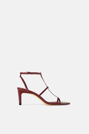 Zara LEATHER STRAPPY HIGH-HEEL SANDALS