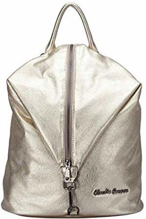 Claudia Canova Womens Backpack Metallic Fabric Vertical Zip Backpack