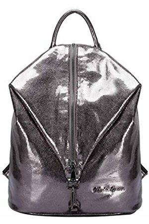 Claudia Canova Womens Backpack Metallic Fabric Vertical Zip Backpack (Pewter)