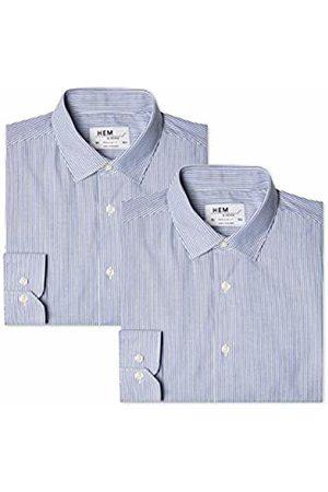 Hem & Seam Men's 2 Regular Fit Striped Formal Shirt