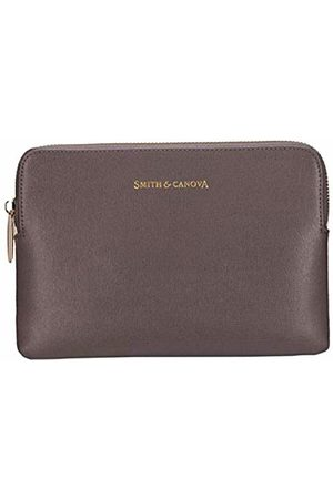 Smith & Canova Womens Leather Zip Top Kindle Cover Laptop Bag (Taupe)