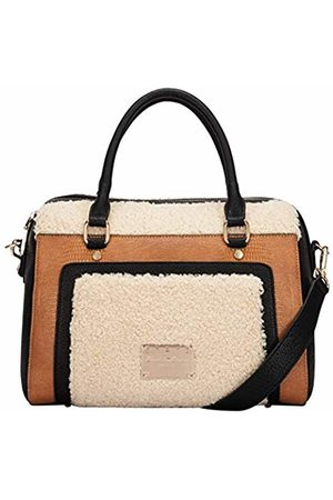 Claudia Canova Womens Twin Strap Bowling Style Two Tone Bag Shoulder Bag (Fur)