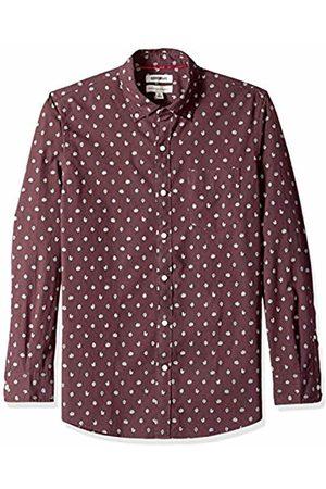 Goodthreads Men's Standard-Fit Long-Sleeve Printed Poplin Shirt, Burgundy Heather Leaf