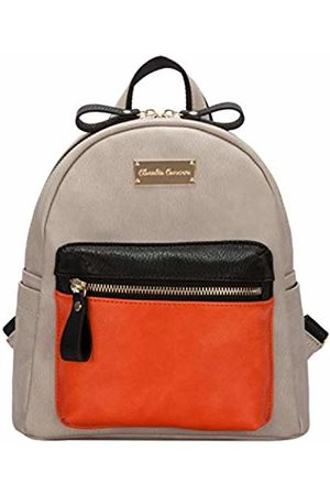 Claudia Canova Womens Small Backpack With Front Pocket Backpack (Taupe-Orng)