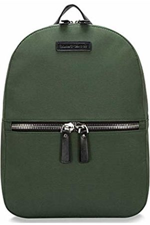 Smith & Canova Mens Backpack Ziptop Pocketed Nylon & Leather Backpack (Khaki)