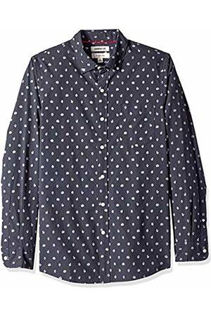 Goodthreads Men's Slim-Fit Long-Sleeve Printed Poplin Shirt, Navy Heather Leaf