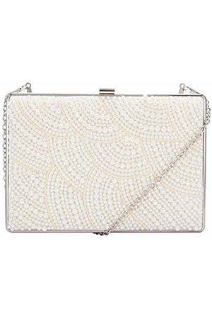 7aeaf2d0f472 Claudia Canova Womens Pearl Covered Clasp Top Clutch Clutch Off- (Pearl)