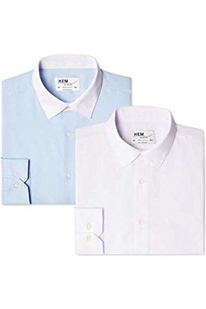 Hem & Seam Men's 2 Regular Fit Contrast Collar Formal Shirt