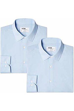 Hem & Seam Men's 2 Slim Fit Solid Formal Shirt