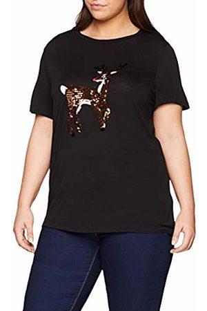 Simply Be Women's Novelty Deer Sequin Xmas T-Shirt