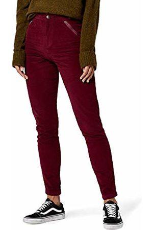 find. Corduroy Zip Detail Trouser, Burgundy