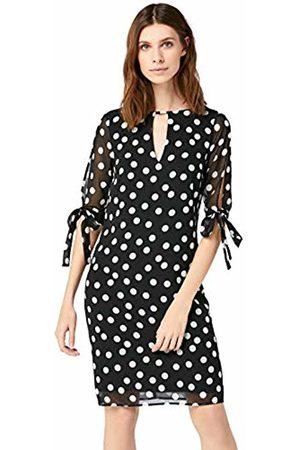 TRUTH & FABLE Sheer Sleeve Tunic Dress Evening, (Spot Print)
